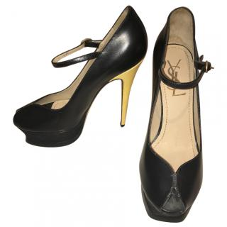 Yves Saint Laurent black mary jane open toes