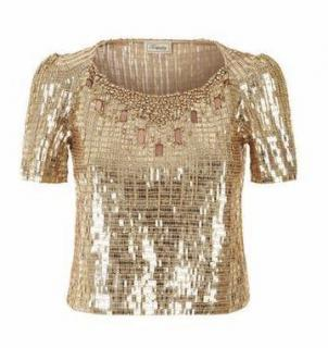 Temperley London Women's Metallic Navette Crop Top RPP �1395