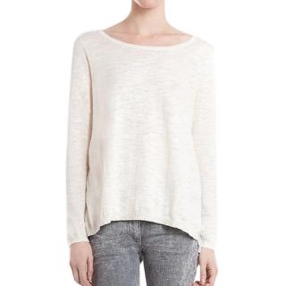 Sandro Supreme white sweater with pleated back