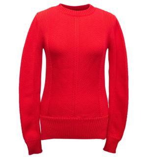 Derek Lam Bright Red Cotton Blend Knitted Jumper