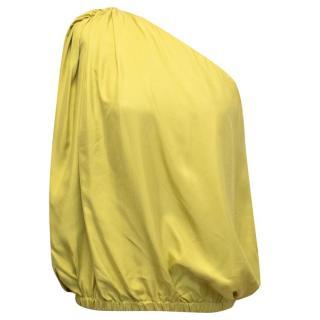 Lanvin Yellow Asymmetrical Off the Shoulder Blouse