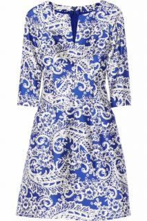 Oscar De La Renta blue printed silk blend dress