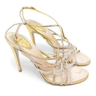 Rene Caovilla Gold Leather and Diamante Embellished Sandals