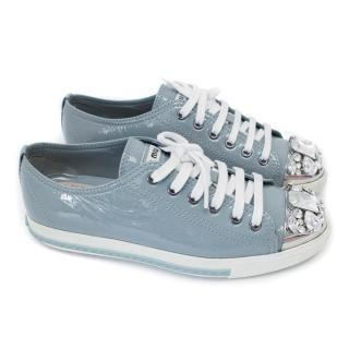 Miu Miu Blue Patent Leather Embellished Trainers
