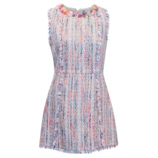 MSGM Multicolour Tweed Embellished Dress
