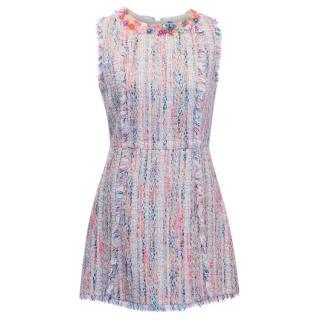 MSGM Multicolour Tweed Embellished Dress
