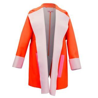 Roksanda Neon Orange Double Crepe Lightweight Coat