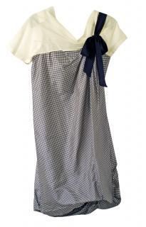 Sportmax Drop Shoulder black & cream Gingham Dress