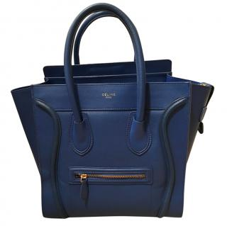 Celine blue luggage tote bag with receipt