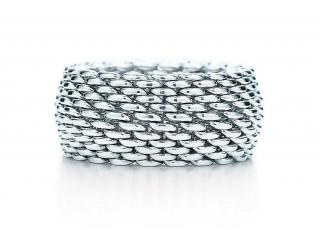 Tiffany & Co 18k White Gold Somerset Mesh Ring