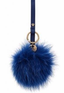 Max Mara Astrale keyring blue fox fur pom pom