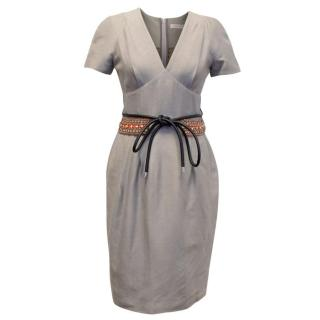 Matthew Williamson Taupe Dupion Silk Dress with Beading
