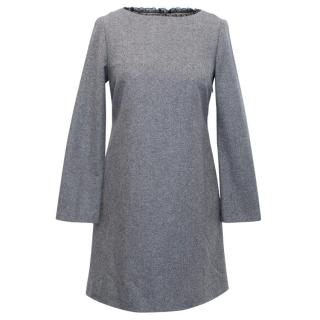 Red Valentino Long Sleeved Grey Wool Blend Dress