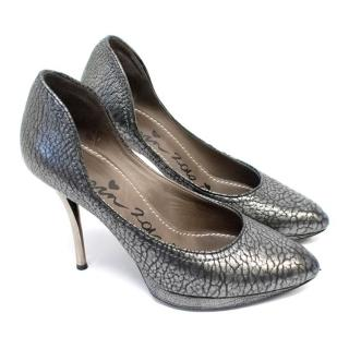 Lanvin Pewter Embossed Leather Pumps