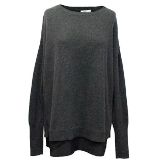 Vince Grey Cashmere and Wool Blend Jumper with Silk