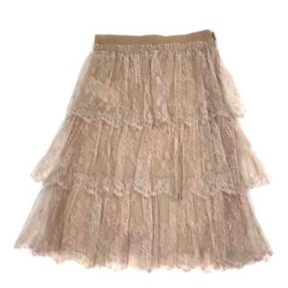Valentino Nude Lace Skirt