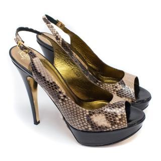 Gina Peep Toe Python Skin Slingback Platform Heels