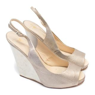 Giuseppe Zanotti Silver Embossed Leather Wedges