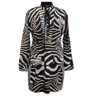 Just Cavalli Black and White Animal Printed Dress