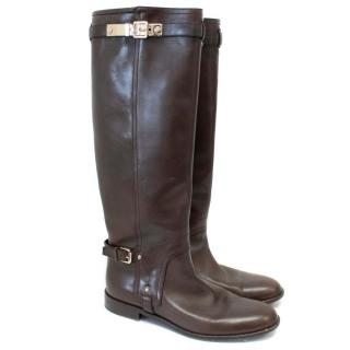 Christian Dior Tall Brown Leather Boots