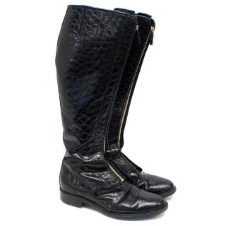 Givenchy Black Embossed Leather Tall Boots