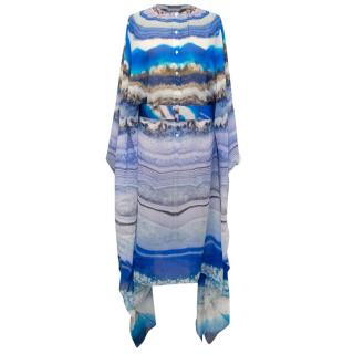 Alexander McQueen Blue Printed Chiffon Cover Up With Belt