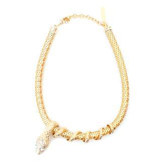 Alberta Ferretti Gold Snake Necklace with Diamantes