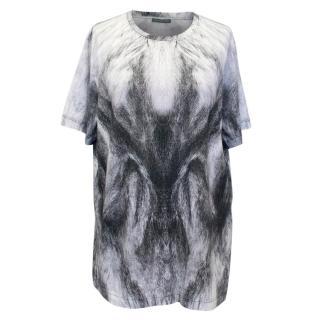 Alexander McQueen Cotton T-Shirt with Grey Fur Print