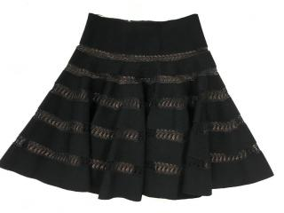 Alaia Black lace inset flared skirt
