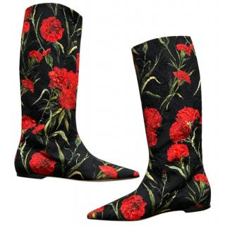 Dolce & Gabbana black red floral boots