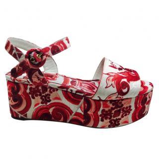 Dolce & gabbana Maiolica print shoes wedge sandals