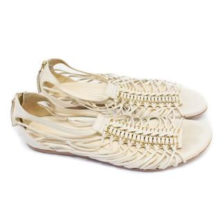 Alexander McQueen Cream Leather Strappy Sandals