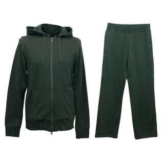 Y-3 Adidas Men's Green Hoodie and Sweatpants Set