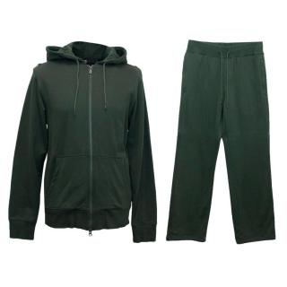 Y-3 Adidas Men's Green Hoodie and Sweatpants Set