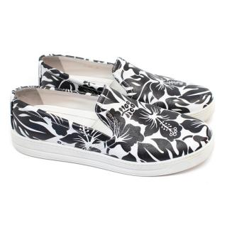 Prada Black and White Floral Printed Loafers