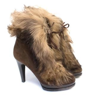 Ralph Lauren Collection Brown Shearling Lamb Fur Lace Up Boots