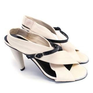 Robert Clergerie Cream Sling Back Cross Over Detail Heeled Sandals