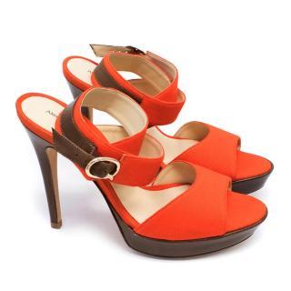 Alexandre Birman Orange Canvas Heeled Sandals