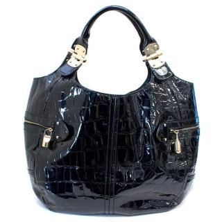 Alexander McQueen Black Embossed Patent Leather Tote Bag
