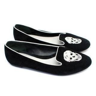 Alexander McQueen Black Suede Embellished Loafers