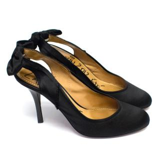 Lanvin Bow Slingback Satin Pump Heels