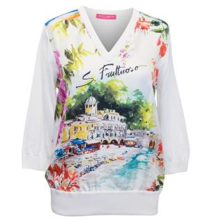 Dolce and Gabbana Cream Portofino Printed Silk Top