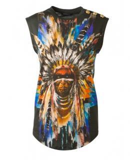 Balmain Indian pattern cotton t shirt