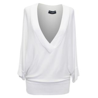 Dolce and Gabbana Cream V Neck Top With Ribbed Trim