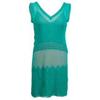 Alberta Ferretti Green Sheer Silk Dress