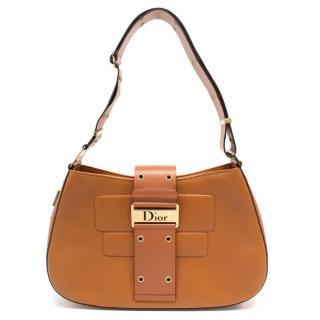 Dior Street Chic Tan Leather Shoulder Bag