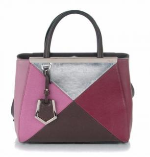 Fendi 2Jours small color-block textured-leather shopper