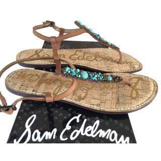 Sam Elderman Turquoise thong sandals.