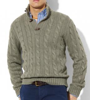 Polo Ralph Lauren Cable Knit Green Toggle Sweater