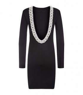 Balmain Crystal Embellished Chain Detail Backless Dress